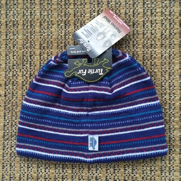 NWT Turtle Fur Striped Merino Wool Knit Beanie 67a90cbedd4